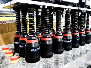Depalletizing bottles system for PET bottles