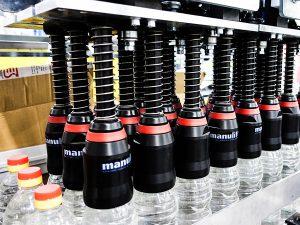 Depalletizing bottles system for PET bottles