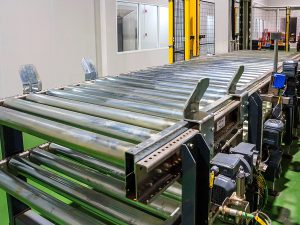 Roller Conveyor for cans and bottles boxes products meat