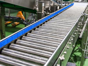 Roller Conveyor for cans and bottles boxes products food