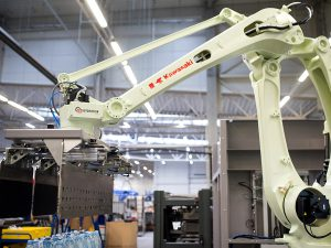 Water plant palletisation system TES Pet Technology robotics kawasaki arm